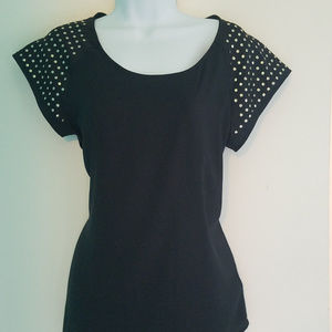Express Black Blouse with Gold Studs